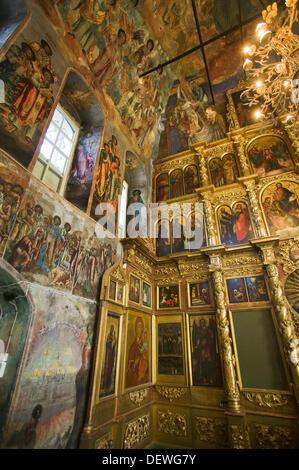 Peintures du 18ème siècle dans le réfectoire de l'église de St Demetrios sur le sang, Uglich. Anneau d'or, Russie Banque D'Images
