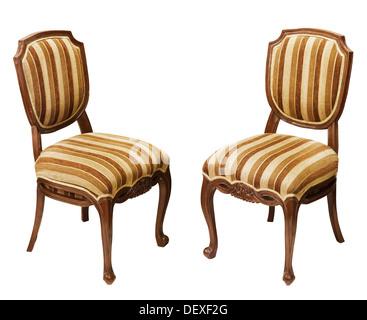 Chaises en bois à rayures antique isolé sur fond blanc Banque D'Images