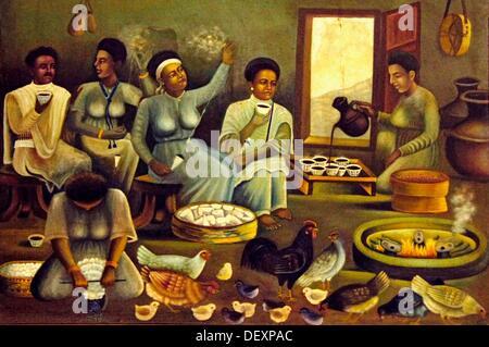"""""""Musée Ethno' à Addis-Abeba artiste: impression d'une cérémonie du café dans un village, en Ethiopie Banque D'Images"""