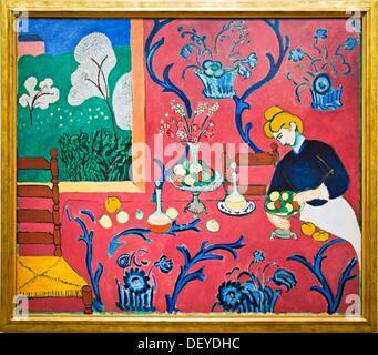La salle rouge harmonie en rouge 1908, Henri Matisse, le musée de l'Ermitage d'Amsterdam , Amsterdam, Pays-Bas. Banque D'Images