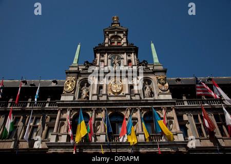 L'Hôtel de Ville d'Anvers à la Grand-Place ou place principale d'Anvers, Belgique, Europe Banque D'Images