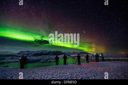 Les photographes de prendre des photos, de l'Aurora Borealis Haliaeetus, Jokulsarlon, Islande Banque D'Images
