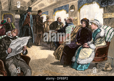 Les passagers sur le 'train' Législatif de New York à Albany (New York), le Centre de RR, 1870. À la main, gravure Banque D'Images