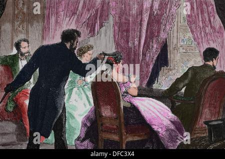 L'assassinat du président Lincoln. Gravure en couleur. Ford's Theater, le 14 avril 1865. Banque D'Images