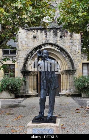 Statue de Wynton Marsalis Learson, trompettiste et compositeur parrain du Festival de jazz à Marciac Gers, Banque D'Images