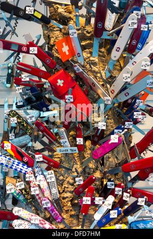 Original Victorinox couteaux suisses en plusieurs couleurs à l'écran dans une fenêtre boutique allemande. Banque D'Images