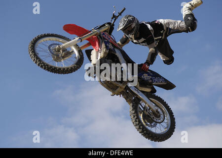 Jump motocross, freestyle, Superman. Banque D'Images