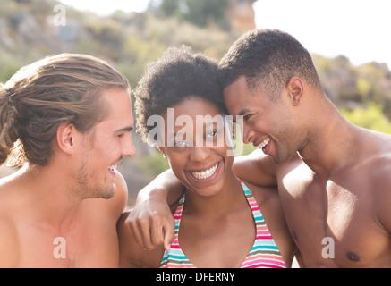 Portrait of smiling friends Banque D'Images