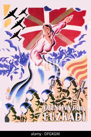 Guerre civile espagnole (1936-1939): Ofensiva para Euzkadi (offensive pour le Pays Basque), l'affiche Républicaine Banque D'Images