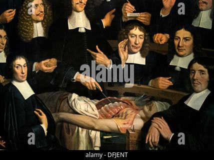 La leçon d'anatomie du docteur Cornelis Isaacz Lochem 1681 Peinture de musée Néerlandais Pays-Bas