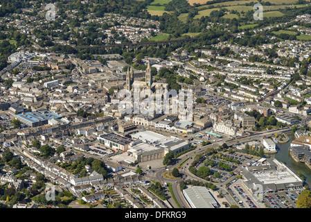 Photo aérienne du centre-ville de Truro Banque D'Images