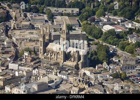 Photographie aérienne de la ville et cathédrale de Truro Truro Banque D'Images