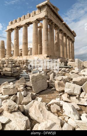 L'ancien temple du Parthénon, l'Acropole, Athènes, Grèce Banque D'Images