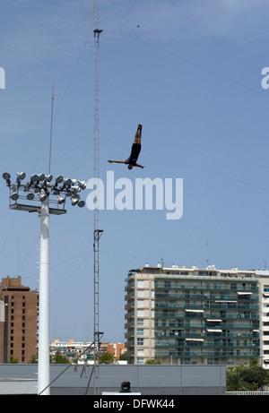 Exposition au Delphinarium où acrobates mix risqué avec les acrobaties des dauphins communs. Banque D'Images