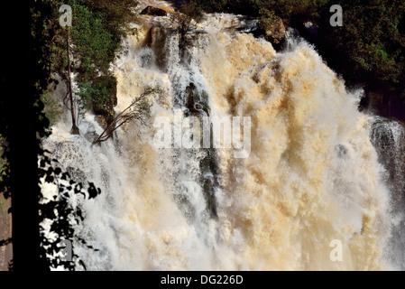 Brésil, Parc National Iguassu: Spot d'une cascade d'Iguassu Falls avec des volumes d'eau record Banque D'Images