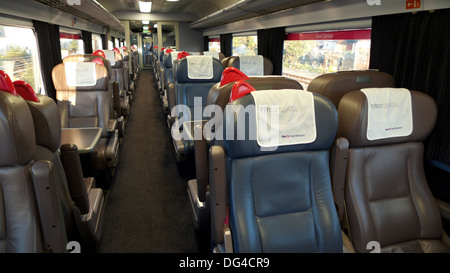 Première Classe sièges vides sur un grand train de l'Ouest Londres Angleterre Royaume-uni KATHY DEWITT Banque D'Images
