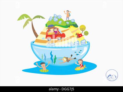 Une illustration d'enfants jouant dans l'eau Banque D'Images
