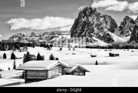 Image en noir et blanc de l'hiver paysage des Dolomites avec une cabane en bois à l'avant et à l'apogée de Sassolungo Banque D'Images