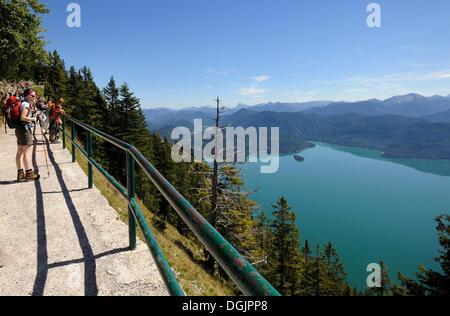 Randonneurs sur Mt. Italia, donnant sur le lac de Walchensee, Bad Toelz-Wolfratshausen, district de Haute-bavière, Banque D'Images