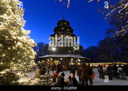 Marché de Noël à la Tour Chinoise, jardins anglais, München, Munich, Haute-Bavière, Bavière, Allemagne