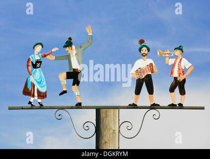 Musiciens et danseurs, tradition, affectueusement l'inscription, la Bavière Banque D'Images