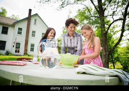 Une réunion de famille d'été dans une ferme. Une femme et deux enfants à l'extérieur par une table, fixant la table. Banque D'Images