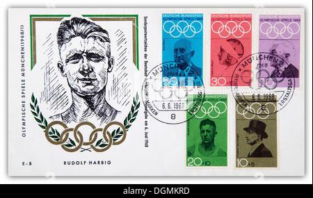 Enveloppe premier jour, Jeux Olympiques de Munich, timbre spécial pour Rudolf Harbig, 6e juin 1968 Banque D'Images