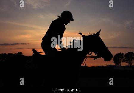 Bad Doberan, Allemagne, silhouette, femme fait une balade à cheval au coucher du soleil Banque D'Images