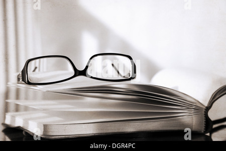 Illustrations de style rétro, lunettes et livre Banque D'Images