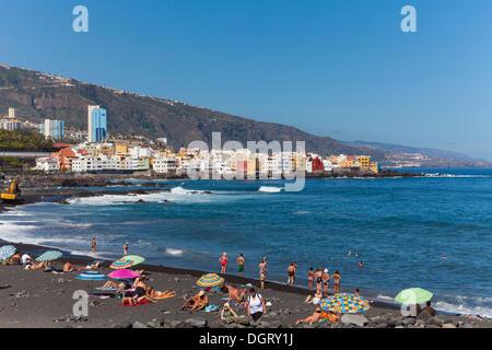 Plage de Playa Jardin, Punta Brava, Puerto de la Cruz, Tenerife, Canaries, Espagne Banque D'Images