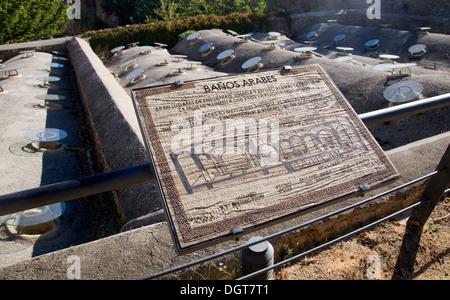 Signe de l'information pour les bains arabes mauresques Baños Arabes Ronda, province de Malaga, Espagne Banque D'Images