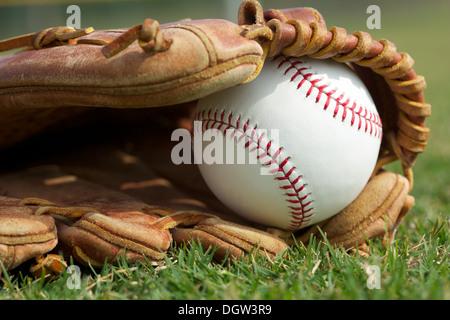 Nouveau dans un gant de baseball sur l'Outfield Grass Banque D'Images