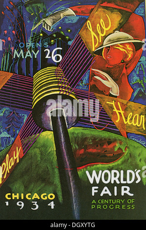 Internationale de Chicago - Un poster vintage voyage, 1934 - éditorial uniquement. Banque D'Images