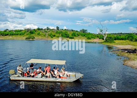 Safari sur la rivière Chobe, excursion en bateau avec des touristes dans le Parc National de Chobe près de Kasane, Banque D'Images