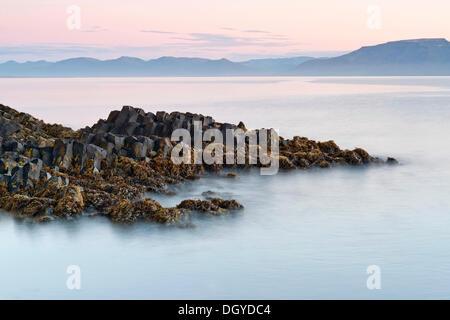 Des formations de roche de basalte sur la côte près de Hofsós, Skagafjoerdur bay, dans le nord de l'Islande, Islande, Banque D'Images