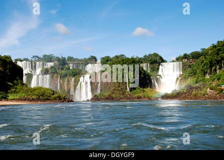 Chutes d'Iguaçu, les berges du côté argentin, rivière Iguazu, Argentine, Amérique du Sud Banque D'Images
