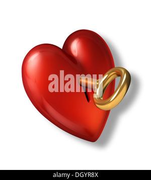 Coeur rouge brillant avec serrure et clé d'or. Sur fond blanc et chemin de détourage inclus. Banque D'Images