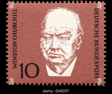 Portrait de Winston Churchill (1874-1965): le premier ministre britannique, allemand sur timbre-poste. Banque D'Images