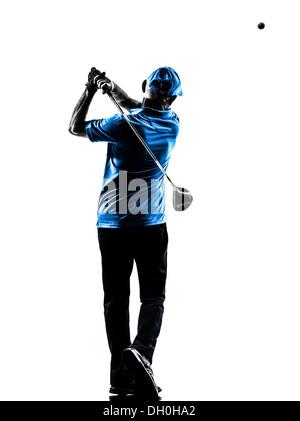 Un homme d'oscillation de golf Golf golfeur en silhouette studio isolé sur fond blanc Banque D'Images
