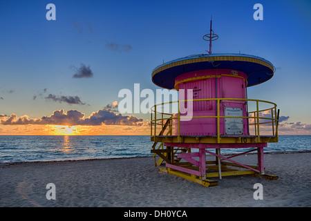 La 10th Street Art Deco lifeguard tower sur Miami Beach Banque D'Images