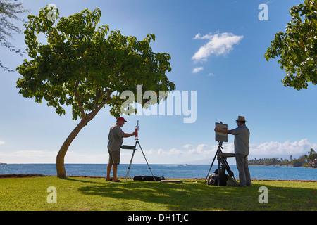 Peintre au port de Lahaina, Maui, Hawaii, USA, Amérique Latine Banque D'Images