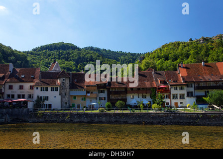 Suisse, Jura, St.Ursanne, pont, village, Schweiz, Jura Berge, St-Ursanne, Brücke, Dorf Banque D'Images