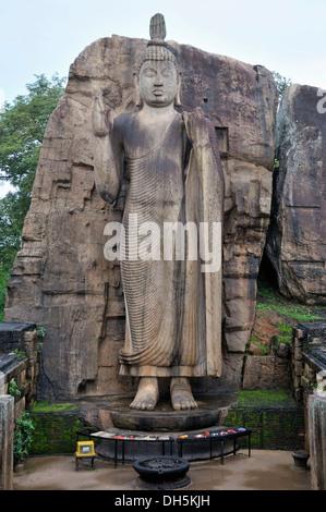 Bouddha Debout à Aukana, geste d'intrépidité et d'encouragement, mais aussi un geste de bénédiction, Sri Lanka, Ceylan, l'Asie