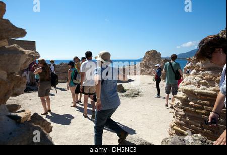 Les ruines de Nora, thermes sur front de mer dans le sud de la Sardaigne Banque D'Images