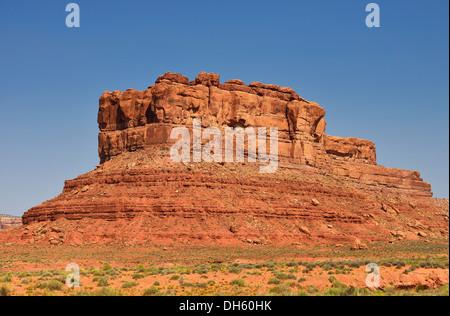 Castle Butte, La Vallée des Dieux, San Juan County, Utah, United States of America, USA Banque D'Images