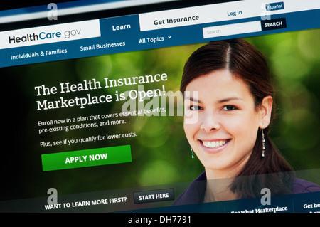 Site web de l'assurance-santé de l'Amérique. Banque D'Images