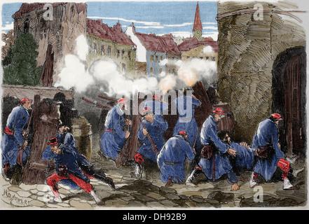Guerre franco-prussienne. 1870-1871. La défense de Paris. 19 janvier. 13 bataillon de la Garde nationale en barricade.