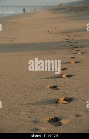 Des traces de pas dans le sable projettent de grandes ombres à l'aube sur Manhattan Beach en Californie. Banque D'Images