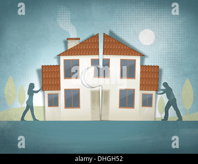 Image d'illustration de couple poussant house morceaux ensemble représentant la maison faire Banque D'Images