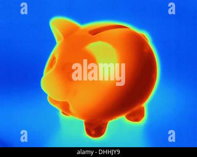 Photographie de thermique tirelire Banque D'Images